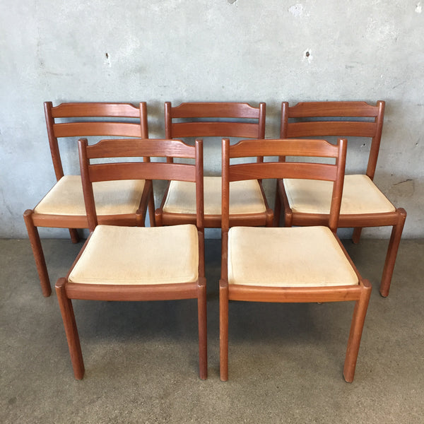Set of Five Danish Mid Century Modern Teak Dyrlund Chairs