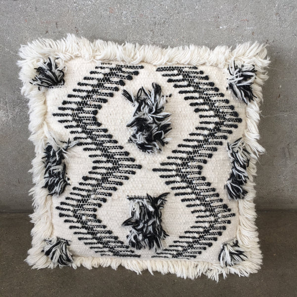 White & Black Fringe Pillow