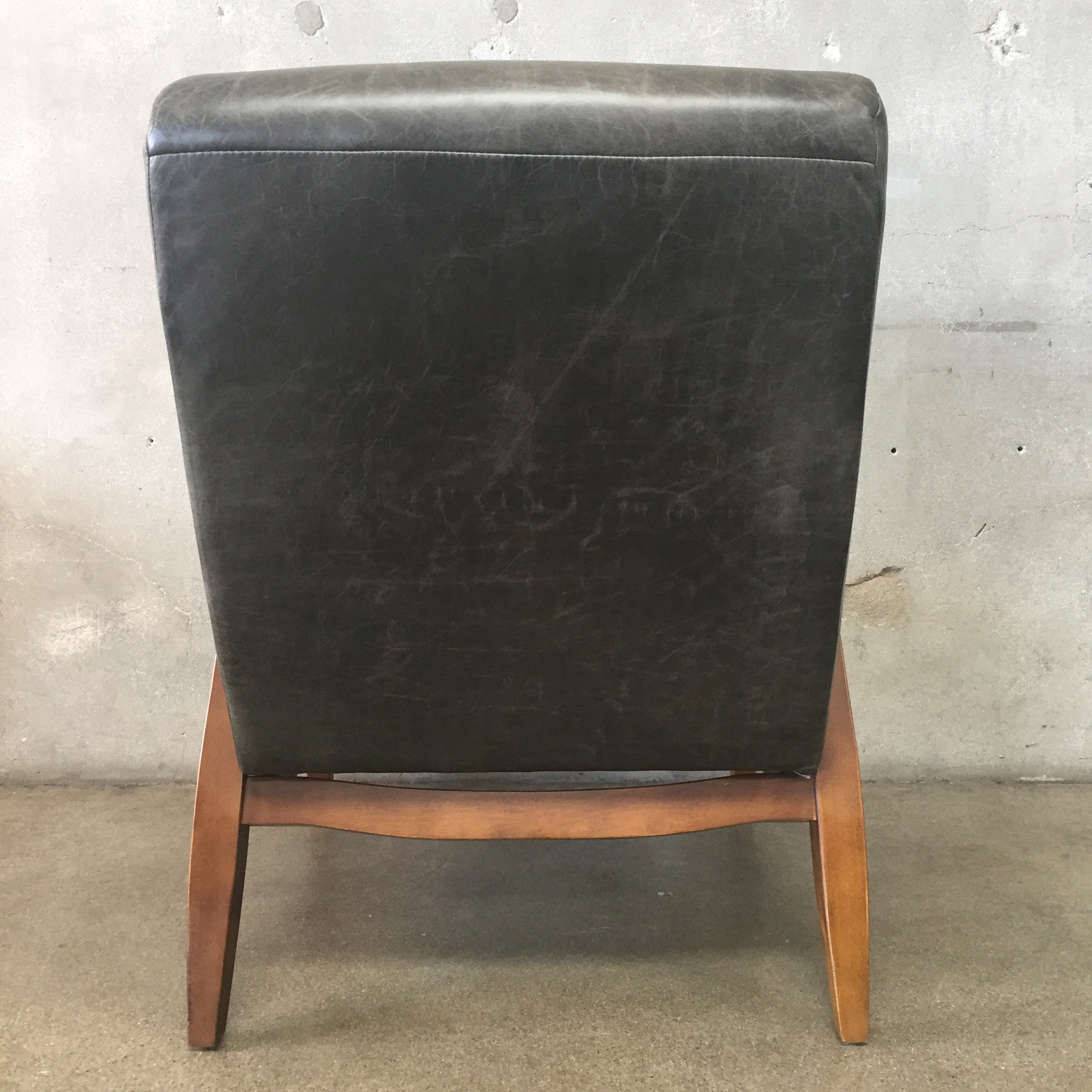 ... Vintage Black Distressed Leather Chair ...