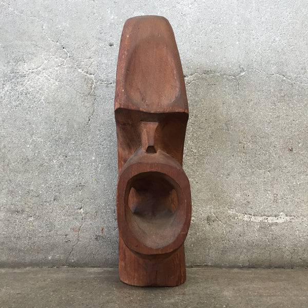 Vintage Wood Face Sculpture