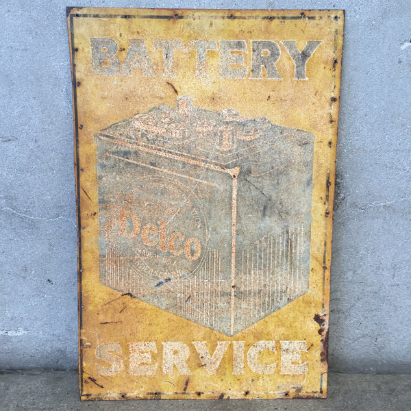 Vintage Delco Battery Sign-HOLD