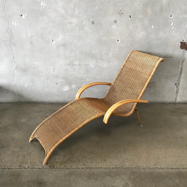 Vintage Wicker Chaise Lounge Chair