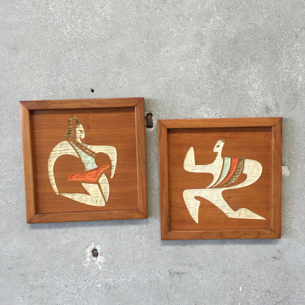 Mid Century Pair of Wood Dancers Wall Art