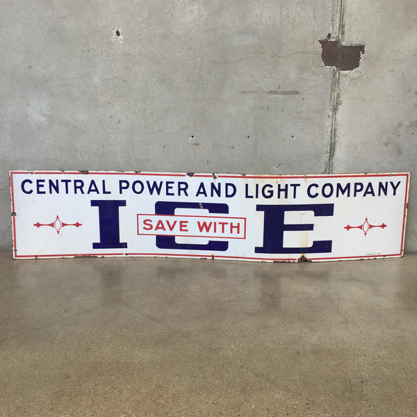 Central Power ICE Porcelain Sign