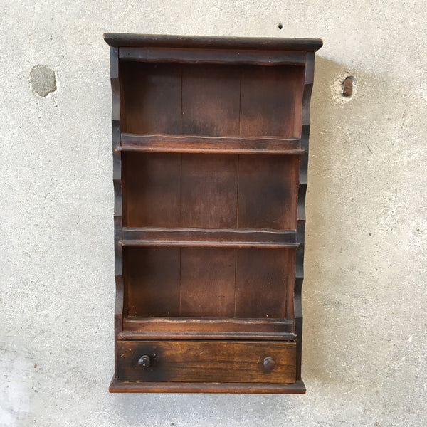 Vintage Wood Wall Shelf With Drawer 1544