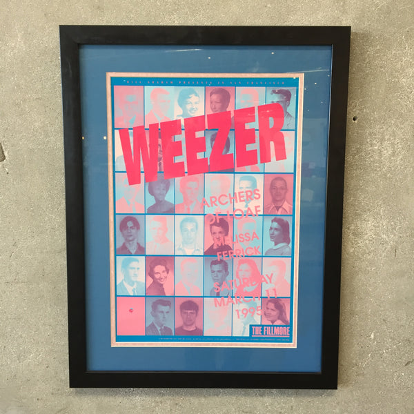 1995 Weezer at The Fillmore Original Framed Poster