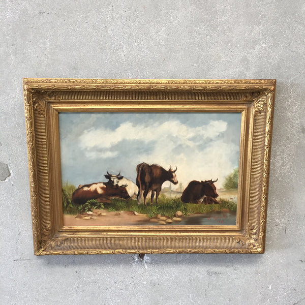 "1892 ""Cows in a Pasture"" Antique Oil Painting"