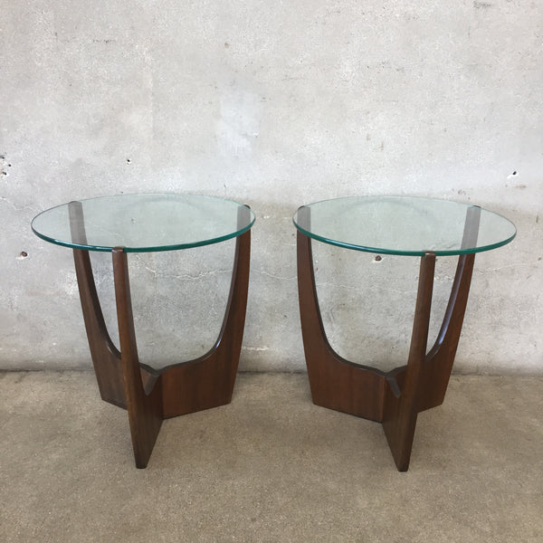 Pair of Mid Century Round Walnut & Glass Side Tables