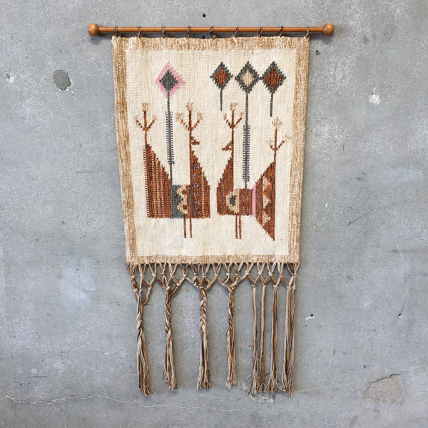 Mid Century Modern Woven Wood Wall Tapestry