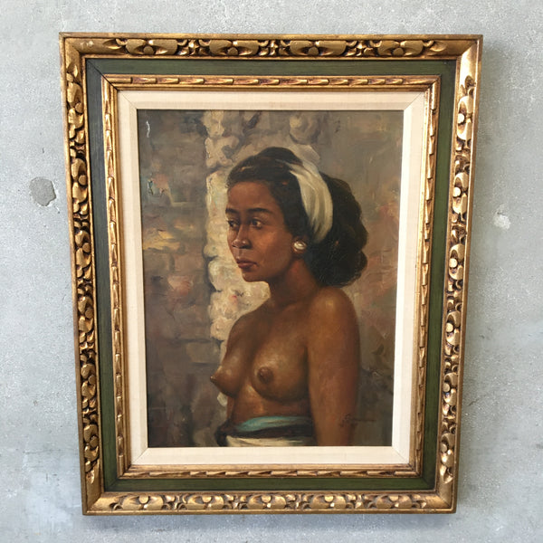 Vintage Painting Of A Lovely Exotic Woman