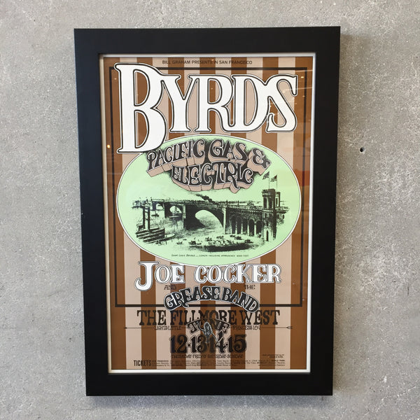 1969 Original Fillmore West Framed Poster Byrds, Joe Cocker, PG & E