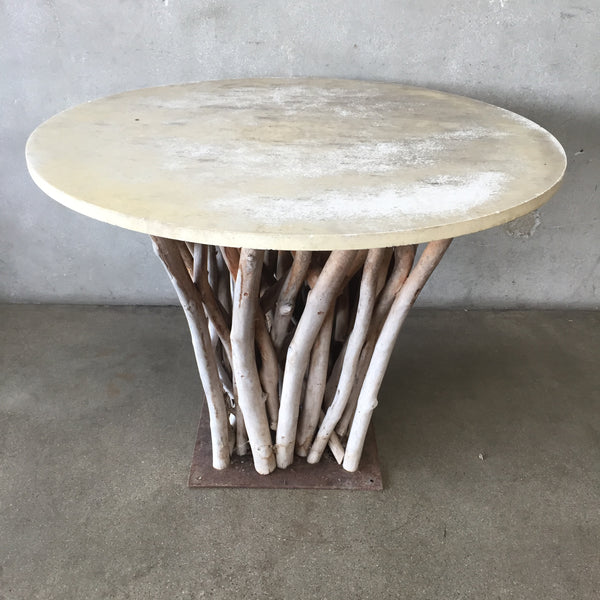 Stone Top Table With Wood Branch Base