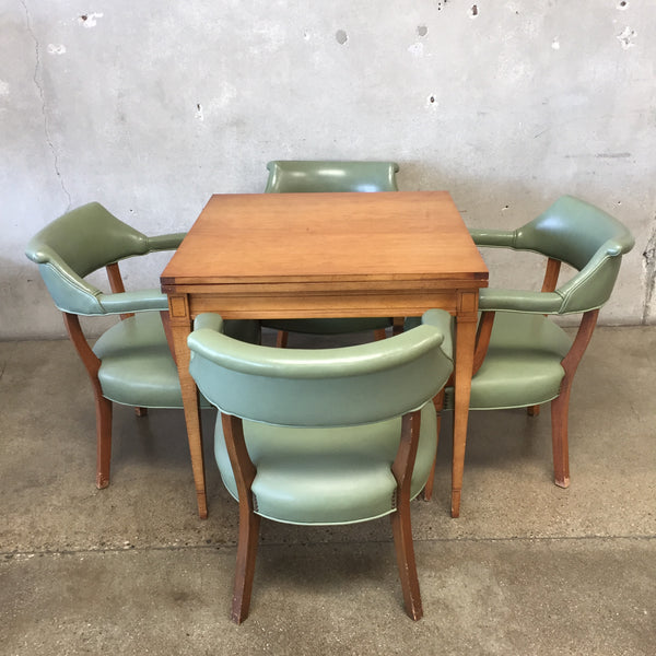Mid Century Flip Top Game Table with Chairs