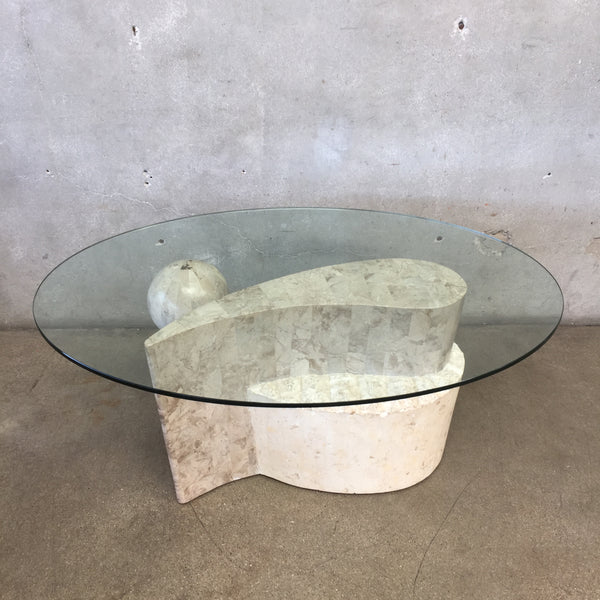 Glass Top and Yin Yang Base Coffee Table