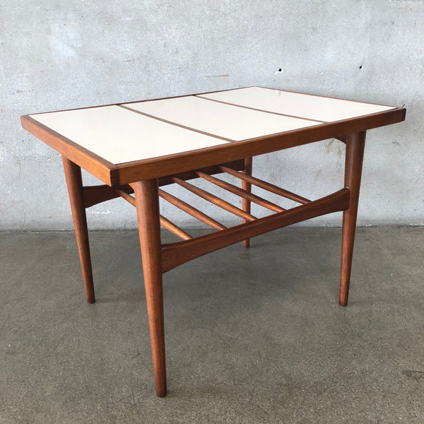 Mid Century Walnut And laminate End Table
