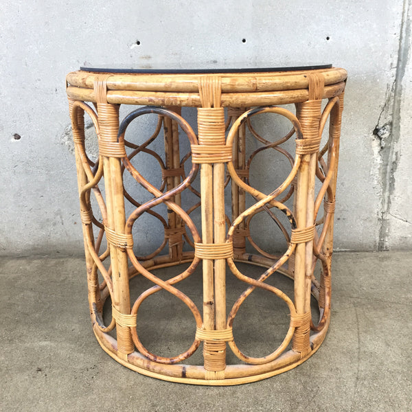 Bamboo & Smoked Vintage Glass Side Table