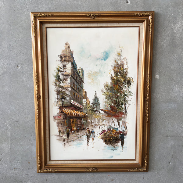 1950's Oil on Canvas Paris Street Scene Signed