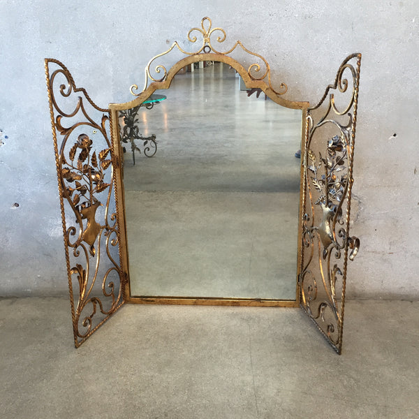 Vintage Italian Tole Mirror with Panel Doors