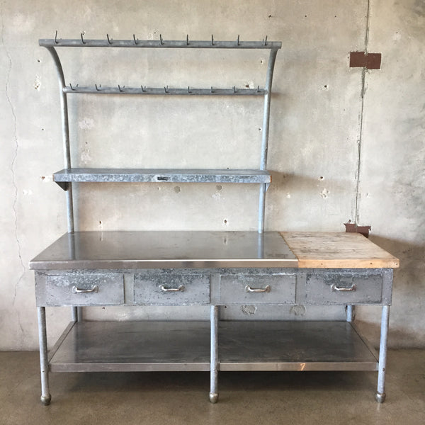 Industrial Kitchen Worktable with Upper Storage