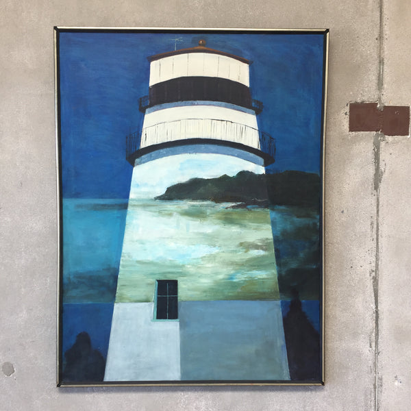 Vintage Mid Century Lighthouse Painting