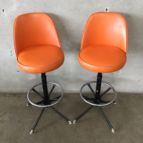 Pair of 1970's Orange Bar Stools