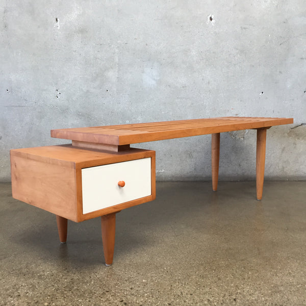 Mid Century Style Two Sided Slat Bench Coffee Table