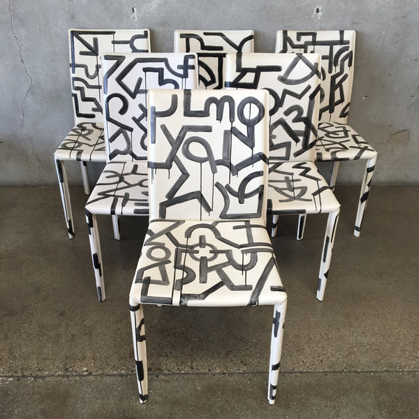 Set of Six Custom Modern Abstract Dining Chairs