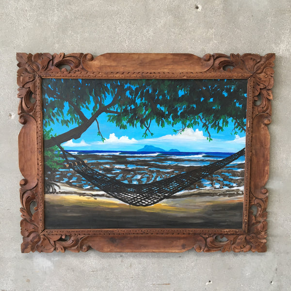 Original Painting On Tiki Wood Framed