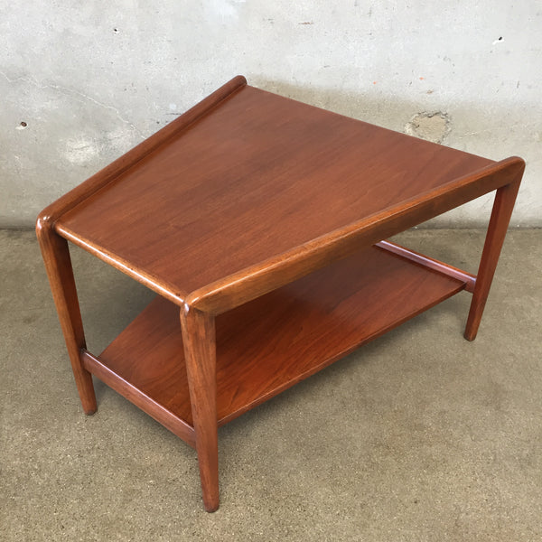 Mid Century Solid Teak Wedge Side Table