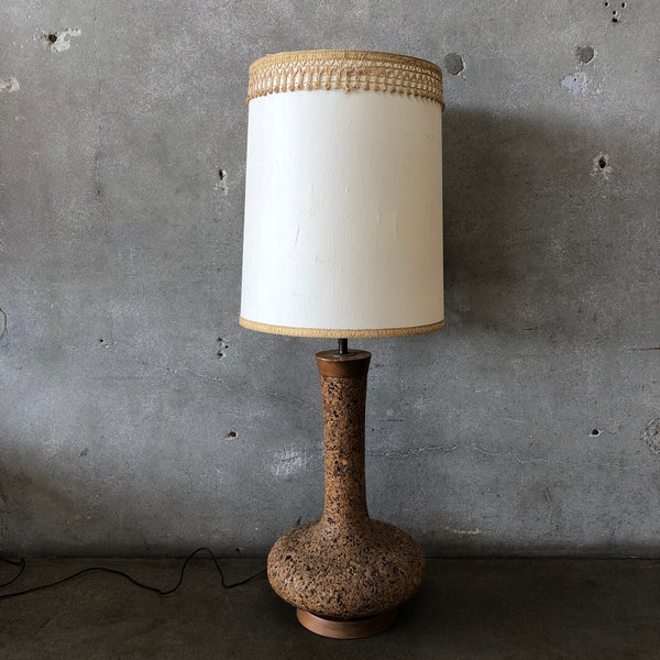 Cork and Wood Mid Century Lamp with shade