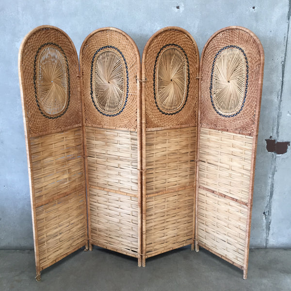 Vintage Rattan & Wicker Privacy Screen