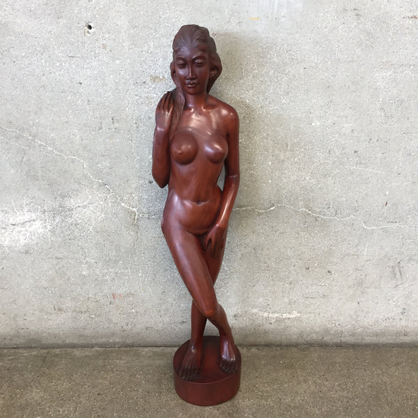 Vintage Walnut Nude Sculpture