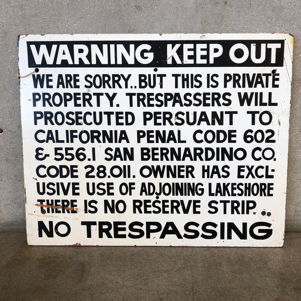 Vintage Wood No Trespassing Sign