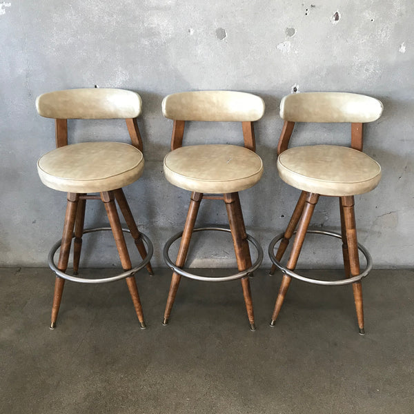 Mid Century Swivel Stools - Set of 3