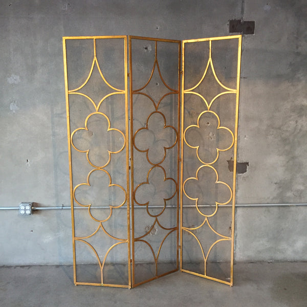 Mid Century Gold Metal Screen