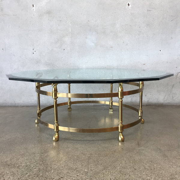 Vintage Brass and Glass Italian Labarge Hollywood Regency Coffee Table