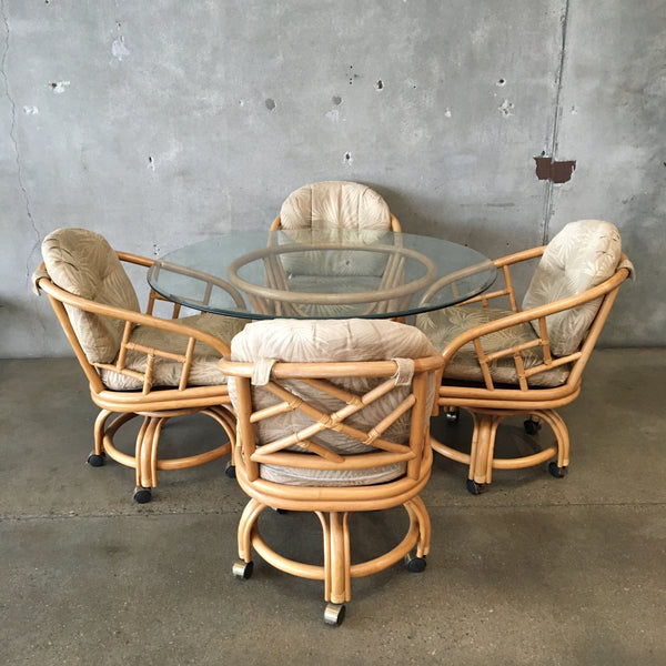 Mid Century King's Rattan Dining Table with Chairs