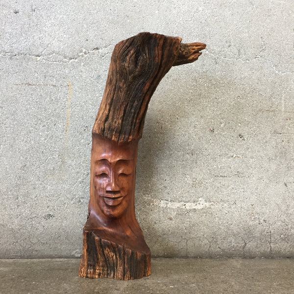 Vintage Koa Wood Branch Face Sculpture