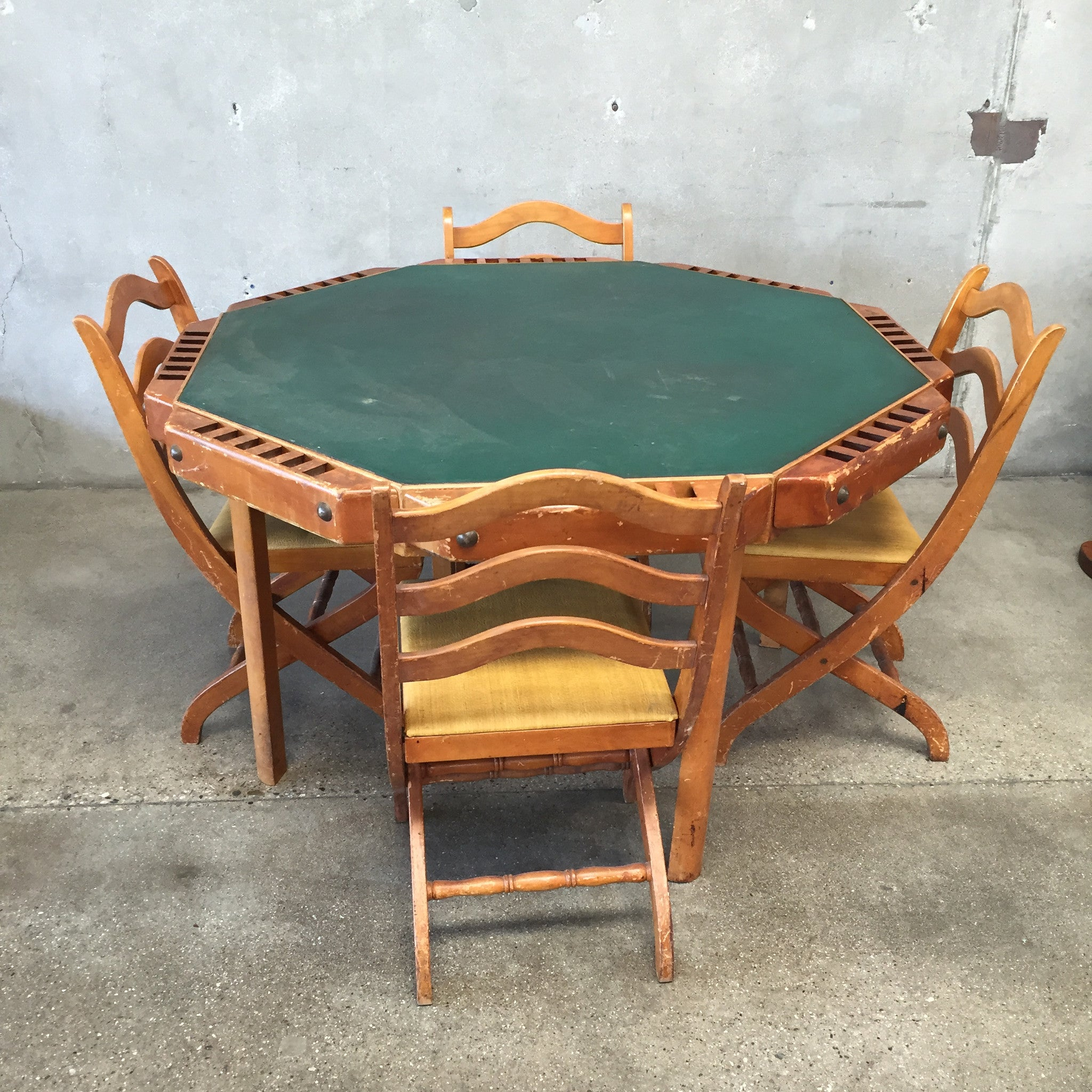 Vintage Poker Table With Folding Chairs ...