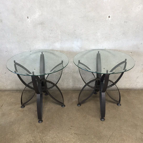 Pair of Metal & Glass Mid Century Side Tables