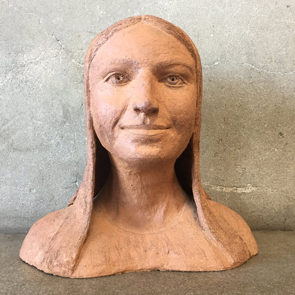 Folk Art Woman Bust Sculpture
