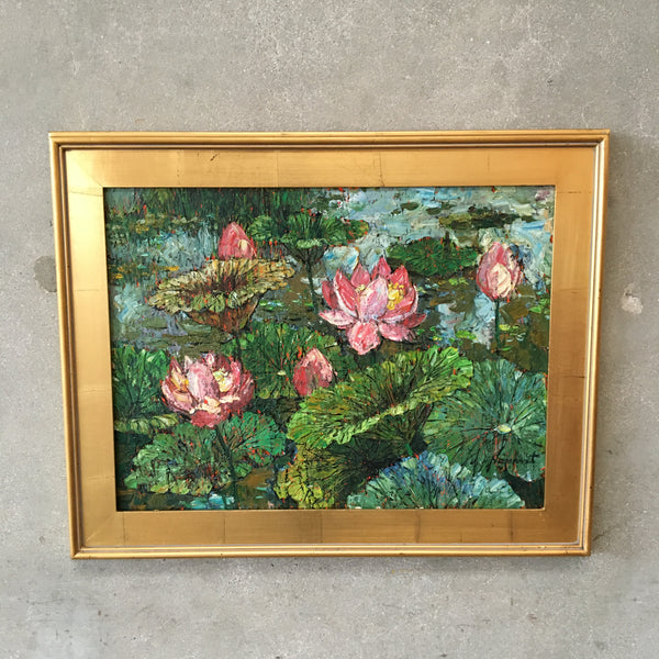 Signed & Framed Waterlily Painting