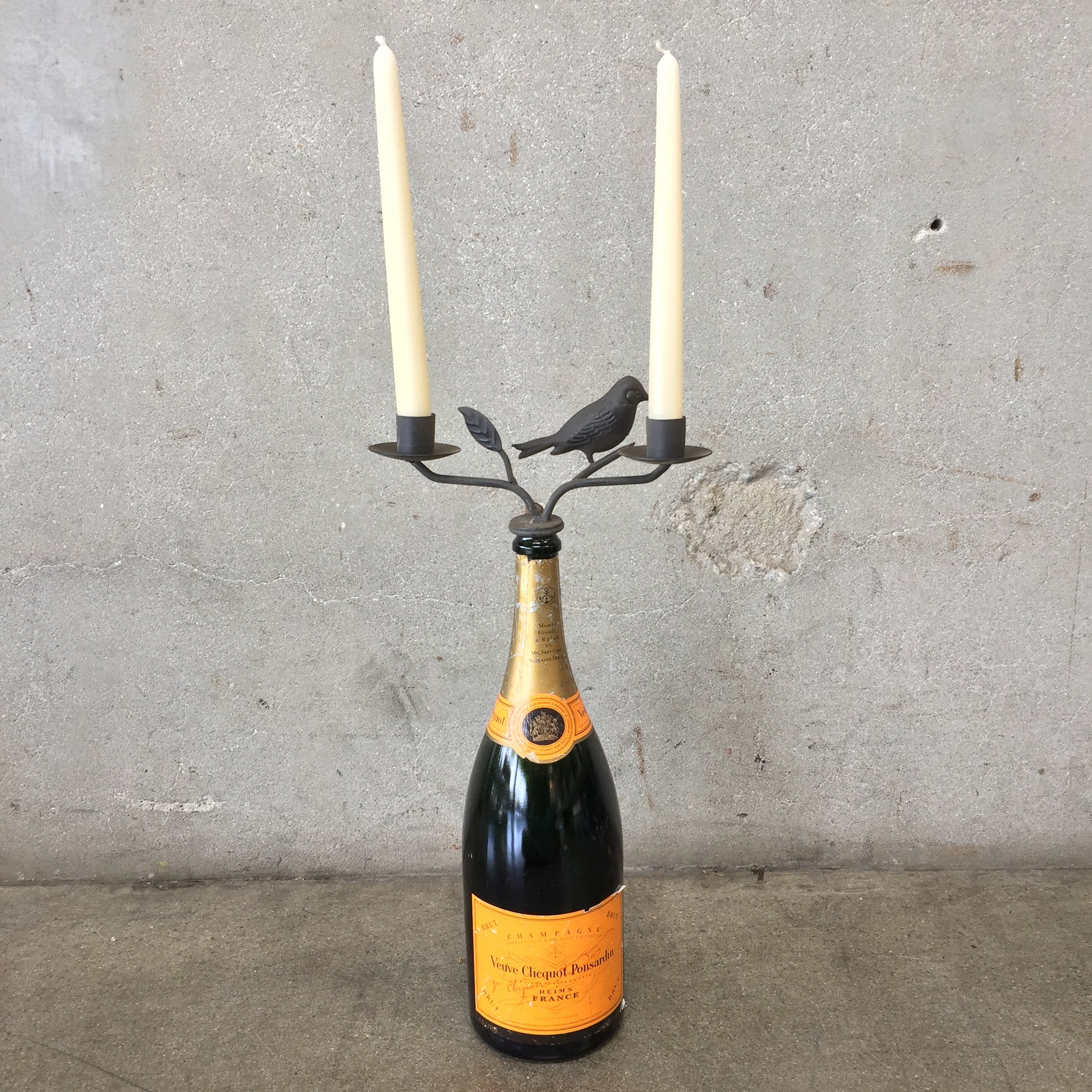 Vintage champagne bottle holder with candle holder for Champagne bottle candle holders
