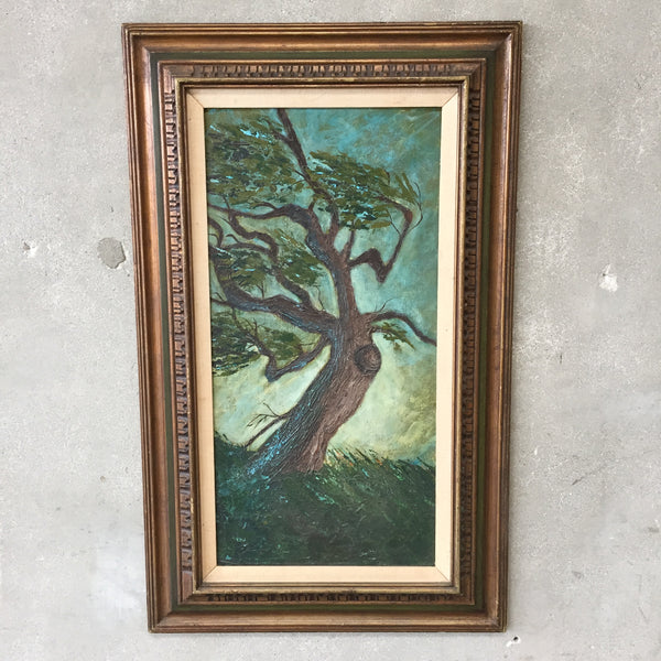 Vintage Oil Painting of Cypress Tree