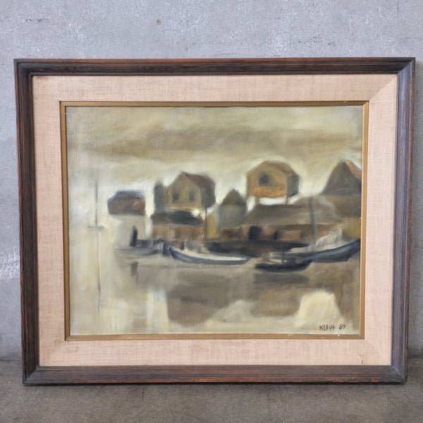 "1960's Oil on Canvas ""Modern Houses by the Shore"""