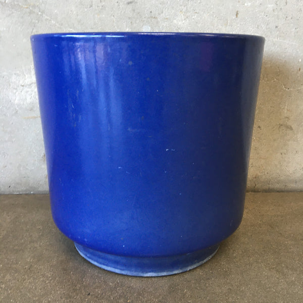 Large Mid Century US Pottery Blue Pot