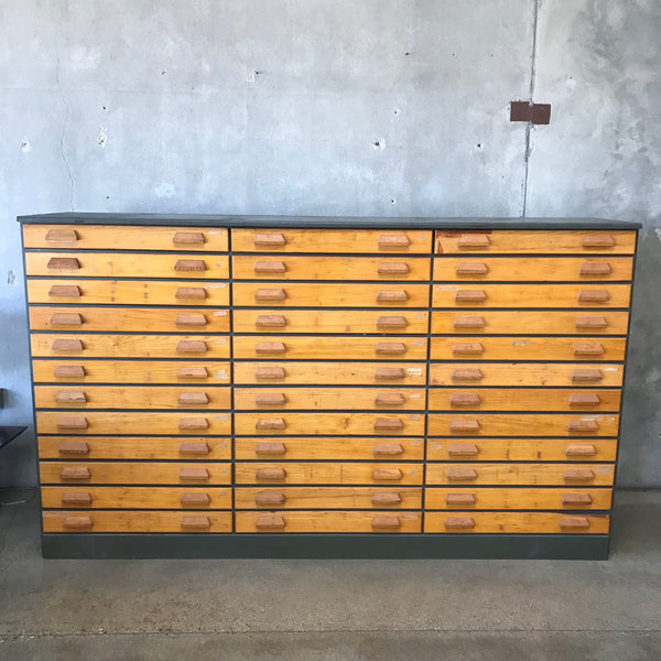 1940's Industrial Wood 36 Drawer Cabinet