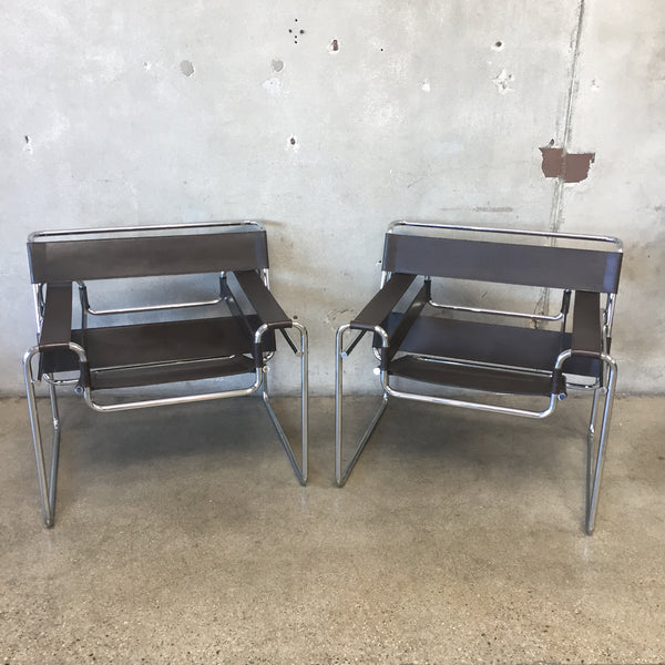 Pair of Mid Century Modern Wassily Italian Chairs by Marcel Breuer for Stendig