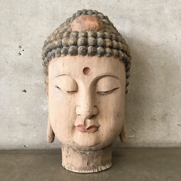 Vintage Carved Wood Buddha Head