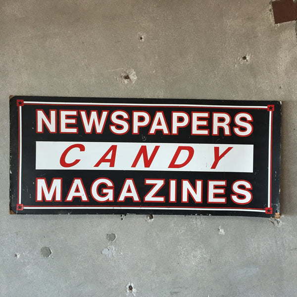 Vintage Newspapers, Candy & Magazines Sign